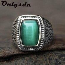 Retro atacado retro jóias de pedra anéis para homens titânio aço incrustado três cores onyx anel de pedra preciosa presente osr770