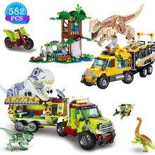 Modelo de caminhão de transporte tiranossauro famoso filme jurássico mundo dinossauro blocos de construção brinquedos das crianças presentes de aniversário