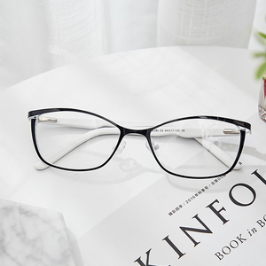 Image 4 - 금속 안경 프레임 여성 브랜드 디자이너 여성 빈티지 고양이 눈 처방 안경 핑크 전체 근시 광학 프레임 눈