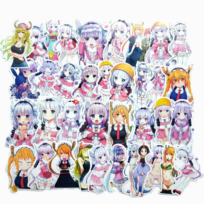 37pcs/pack Cute Anime Kobayashi San Chi No Maid Dragon Stickers For Skateboard Laptop Luggage Waterproof Car Sticker Toys Gift