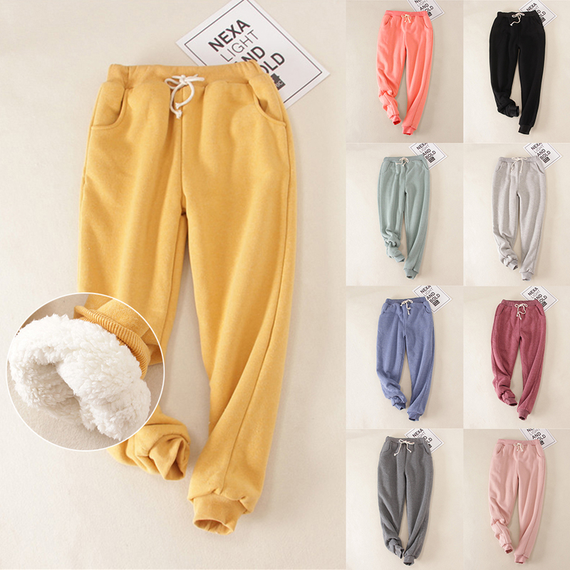 2019 Autumn Women Gym Sweatpants Workout Fleece Trousers Solid Thick Warm Winter Female Sport Pants Running Pantalones Mujer