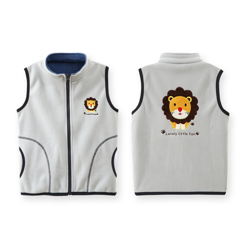 Fashion Polar Fleece Vest For Boy Turleneck Embroidery Cartoon Pattern Autumn Baby Girls Waistcoat Clothes Thick Children Vests 3