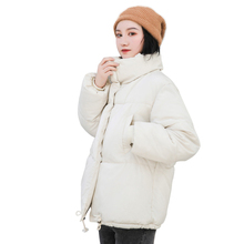 RICORIT Winter Jacket Women Solid Color Stand Collar Down Co
