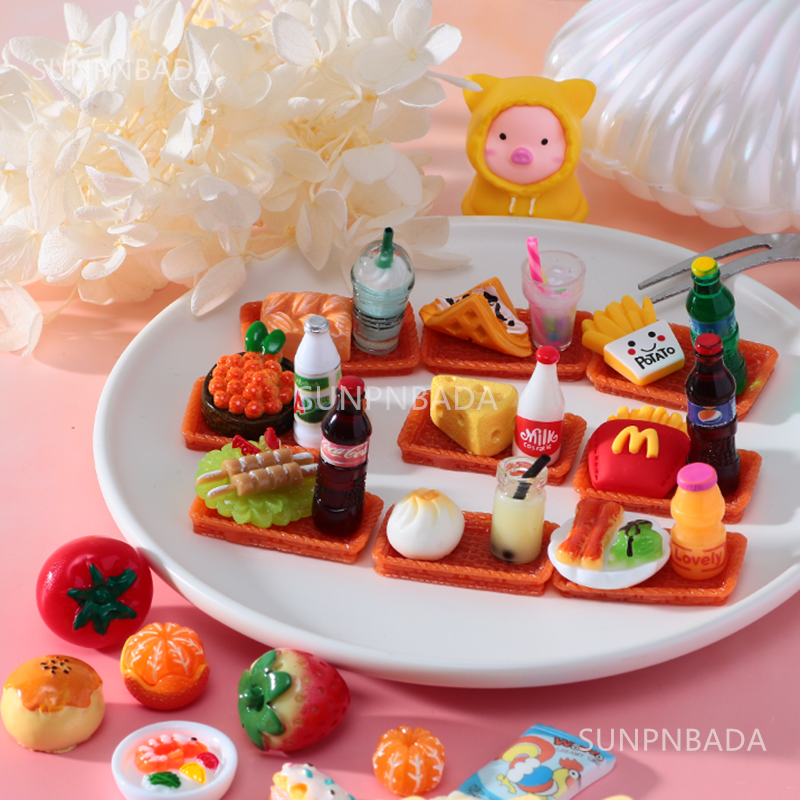Cute Miniature Dollhouse Supermarket Food Snacks Mini Cake Wine Drink for Blyth Barbies BJD Doll Kitchen Accessories 6