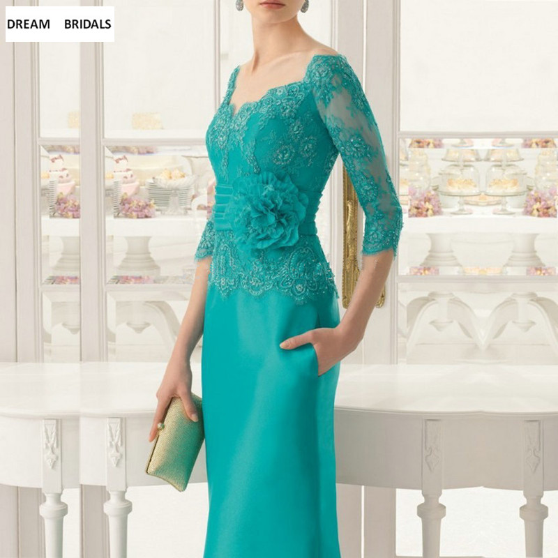 Elegant Emerald Beading Lace Mother Of The Bride Dress Dinner Gown Three Quarters Sleeves Floor Length Formal Dress Bride