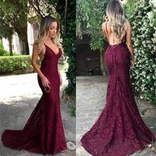 Burgundy Party Gowns Evening Dresses Lace Mermaid Backless Sleeves Women Formal Dress robes de soirée недорого