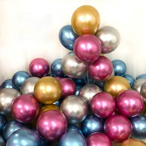Image 4 - 128pcs Wholesale Gold Metallic Party Balloons 12 Inch Assorted Metal Chrome Alloy Latex Balloon for Birthday New Year Decoration