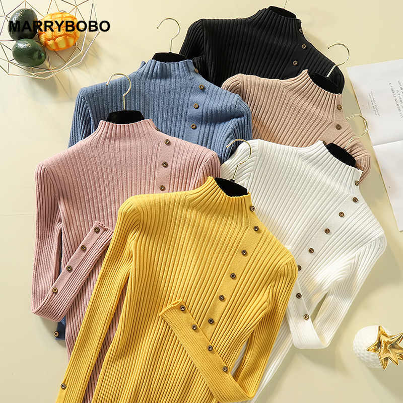 Casual Women Knitted Sweater 2019 Vintage Long Sleeve Turtleneck Pullovers Female Button Slim Sweater Tops