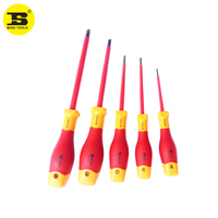 5PC BOSI VDE Mixed Sizes Slotted Professional Flat Screwdrivers Set Insulation 1000v