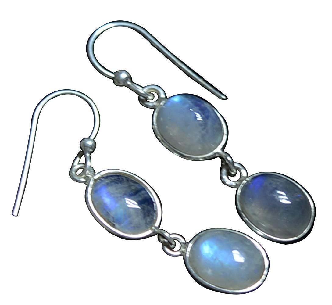 Оригинальные Серебряные серьги с лунным камнем синего цвета, 36,8 мм, AE2594|Серьги-подвески| | АлиЭкспресс