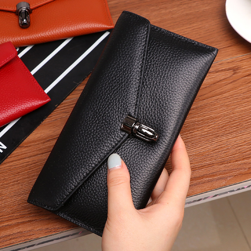 Genuine Leather Women Wallet Long Lock Female Wallets Ladies Envelope Clutch Bags Cow Leather Coin Purse Credit Card Holder Red