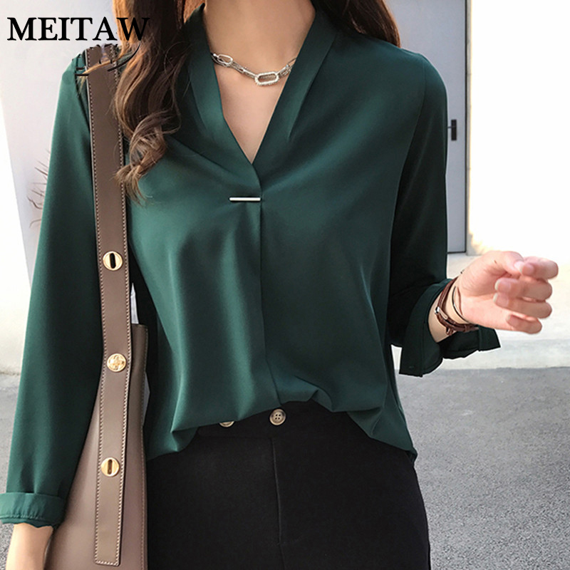 4XL Plus Size Women Chiffon Blouse Shirt Elegant V Neck Long Sleeve Solid Casual Blouses 2020 Ladies Korean Office Tops|Blouses & Shirts| - AliExpress