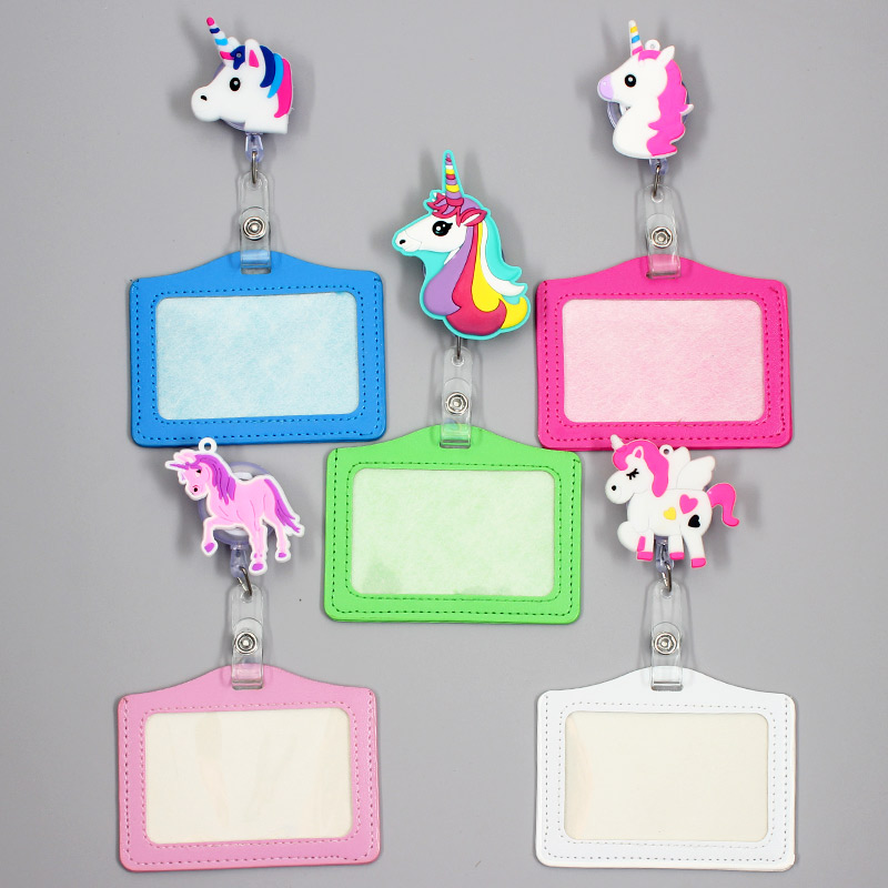 Creative Unicorn Horse Retractable Badge Holder Reel Exhibition Enfermera Student Music Boy Name Card Hospital Office Chest Card