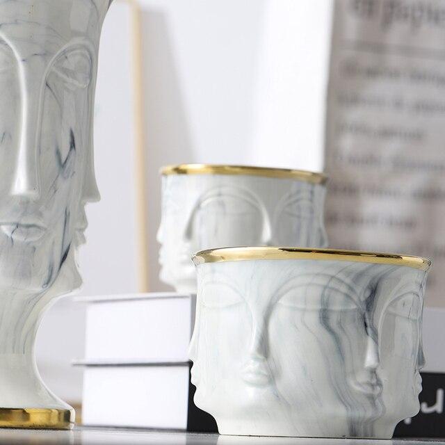 RUX WORKSHOP Nordic Face Shape Designs Best Marble Ceramic Vase flower pot Gold Home Decoration Accessories Tools 6