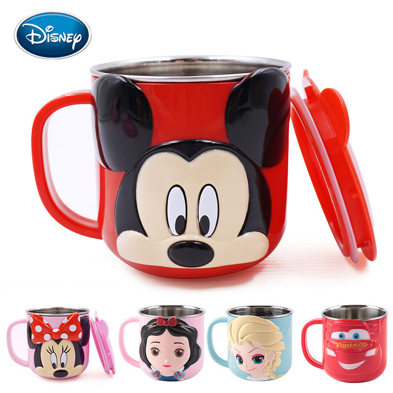 Disney Children Cute Cartoon Milk Cup 300ML Creative Drink Water Drinkware Juice Cup Mickey Stainless Steel Mugs