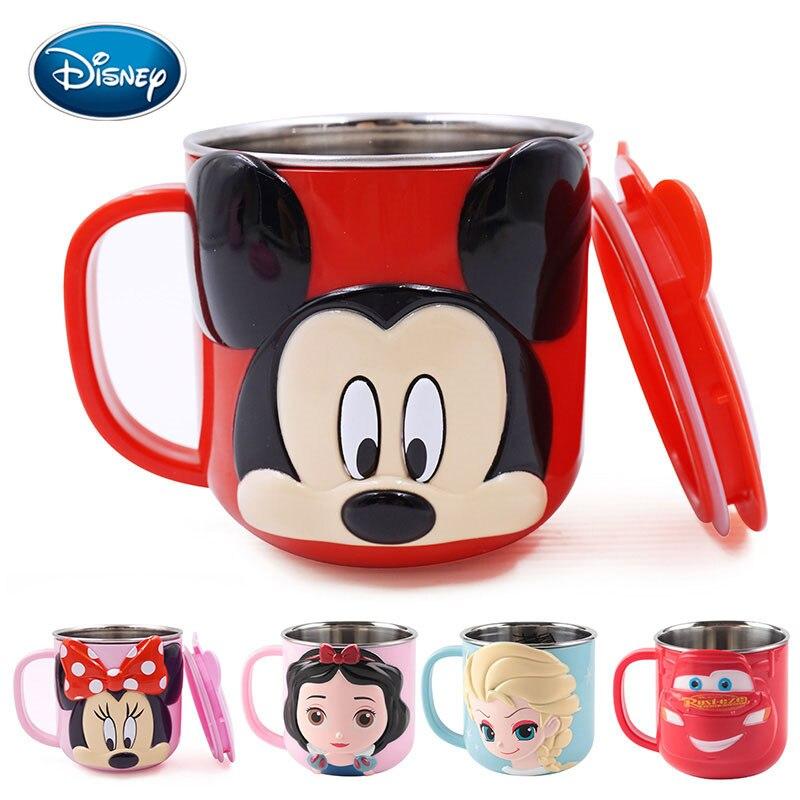 Disney Children Cute Cartoon Milk Cup 300ML Creative Drink Water Drinkware Juice Cup Mickey Stainless Steel Mugs