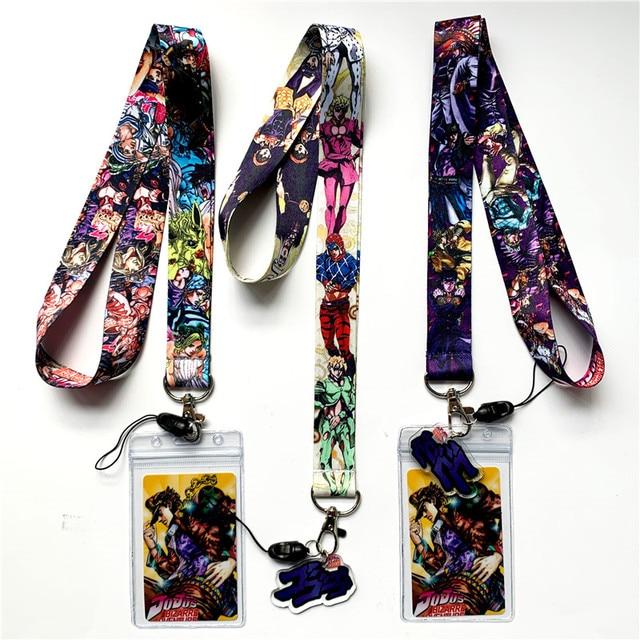 Anime JoJo's Bizarre Adventure Kujo Jotaro Lanyard Neck Straps Holder Pendant Keyring Charms Mobile Phone Cosplay Keychain Gift