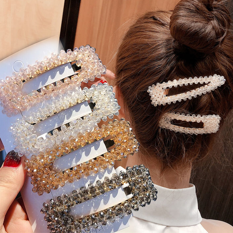 Korean Crystal Pearl Hairpins Barrettes For Women Fashion Geometric Water Drop Rectangle Girl Hair Accessories Headwear Hairgrip
