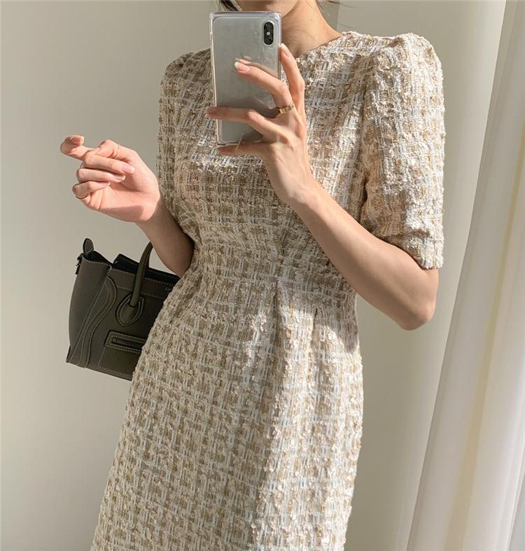 High Waist Casual Puff Sleeve Plaid Elegant Vintage Mini Dress 7