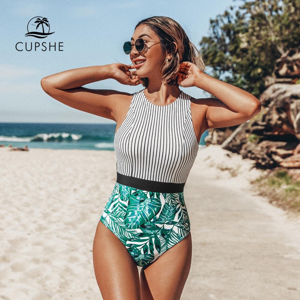 CUPSHE Black Striped And Green Leaf One-piece Swimsuit Women Sexy Cutout Monokini Bathing Suits 2021 New Girl Beach Swimwear