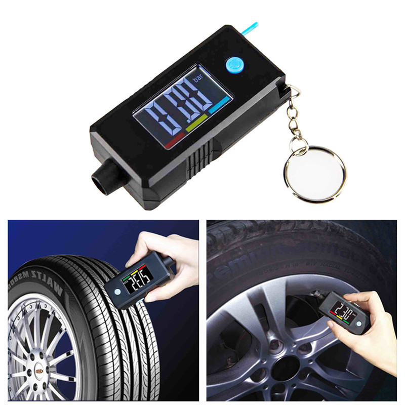 2 In 1 Mini Electronic Digital Display Tire Gauge Keychain Automobile High Precision Tread Depth Tire Pressure Gauge TPMS 120PSI