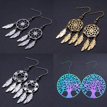 Bohemia Fashion Dream Catcher Drop Earring for Women Wholesale 100% Stainless Steel Boho Feather Lotus  Jewelry Dropshipping