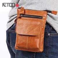 BJYL Men's pockets Leather belt mobile phone bag With shoulder straps First layer cowhide multi function business bag