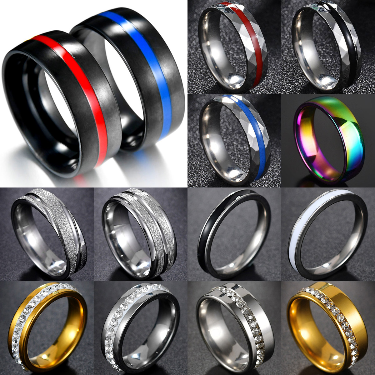 New Keisha Lena Mens Ring firefighter Thin blue red line Stainless Steel Gift