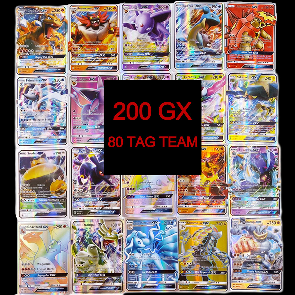 TOMY 200 PCS Pokemon TAG TEAM Card Lot Featuring 80tag Team 20mega 20 Ultra Beast Gx