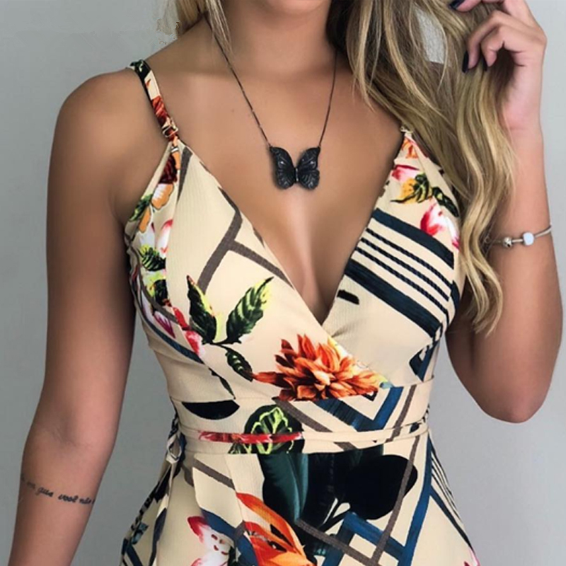 Women Spaghetti Strap Floral Print Romper Sexy Jumpsuit Women Sexy Bodysuit Jumpsuit Overalls Party Female V-neck Short Jumpsuit