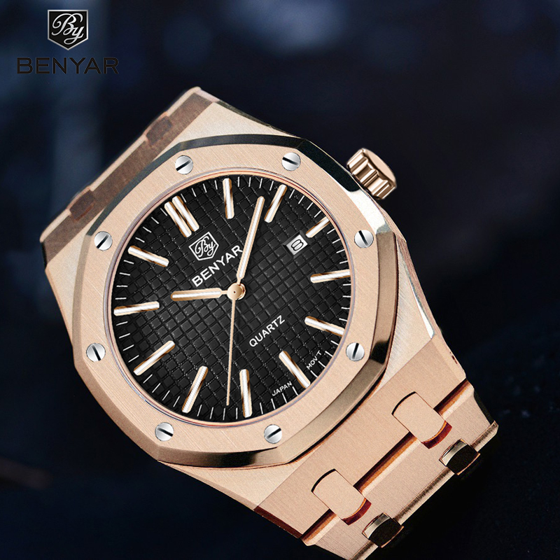 BENYAR Mens Watches Top Brand Luxury Gold Watch Men Sport Military Wristwatch Men Quartz Business Watches Relogio Masculino 2019