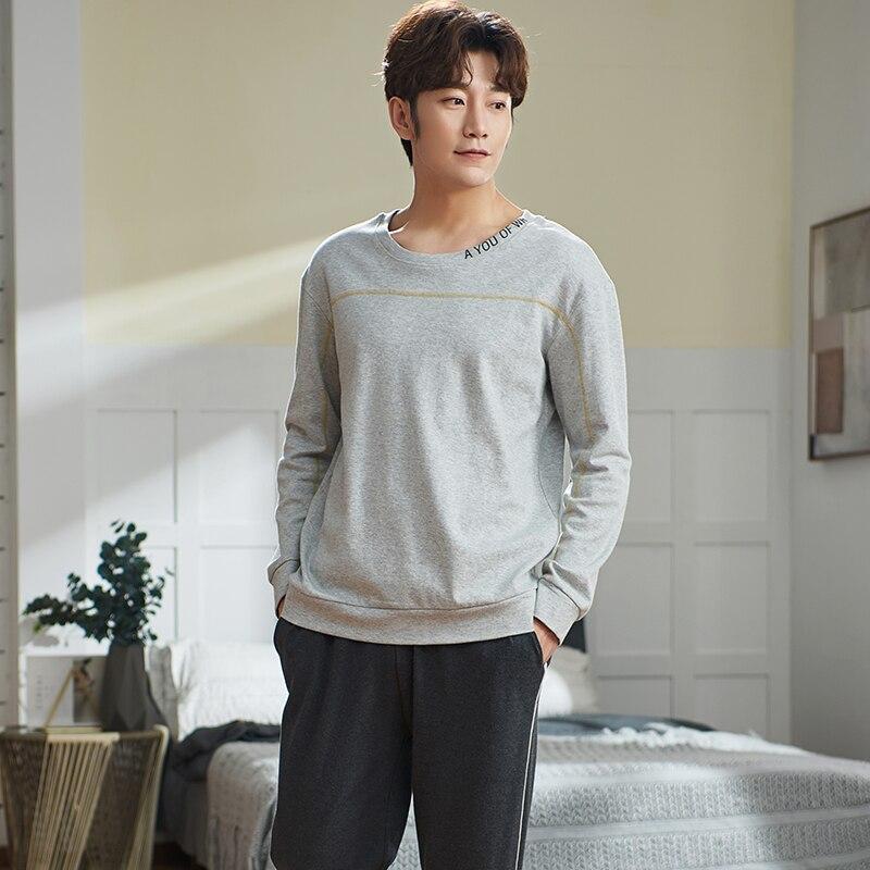 Autumn Men's Pure Full Cotton Pajamas Letter Sleepwear Plus Size L-4XL Pajama Sets Casual Sleep&Lounge Pyjamas Pijamas Hombre