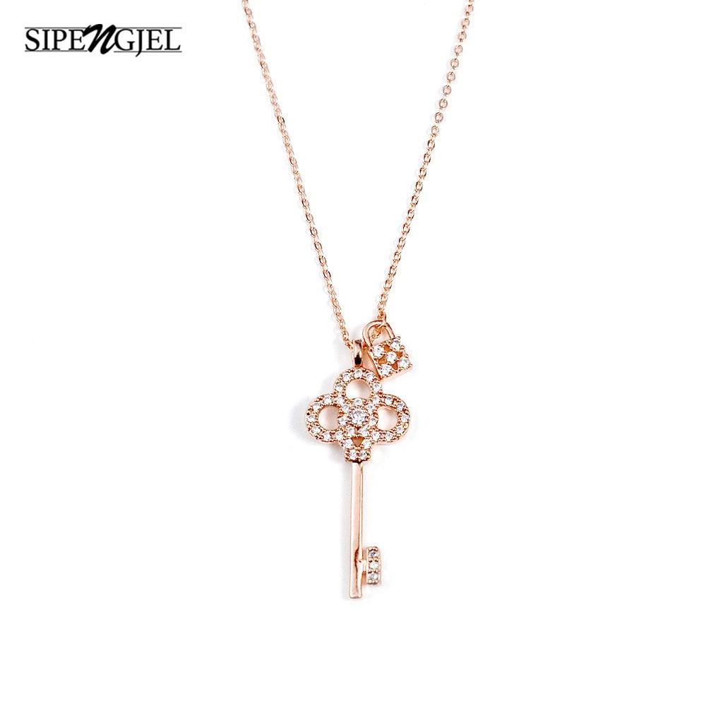 SIPENGJEL Cubic Zircon Exquisite Lock Key Pendant Necklace Femme Gold Chain choker Necklace For Women Accessories Jewelry 2021