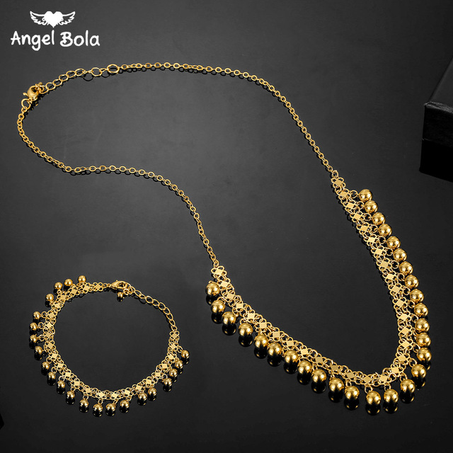No Faded Allah Muslim Arabic Islam Necklace Long Gold Beaded Link Chains Turkish Middle East Bracelet Jewelery Set