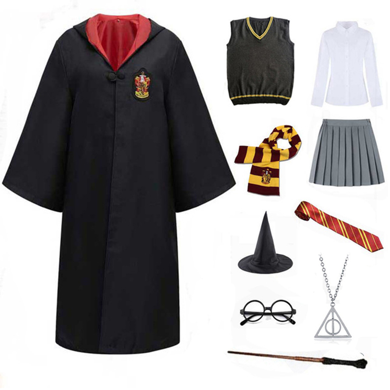 Slytherin Halloween Cosplay Costume For Kids Adult Cloak Robe Tie Scarf Magic Wand Children Suits Cosplay Clothes Accessories