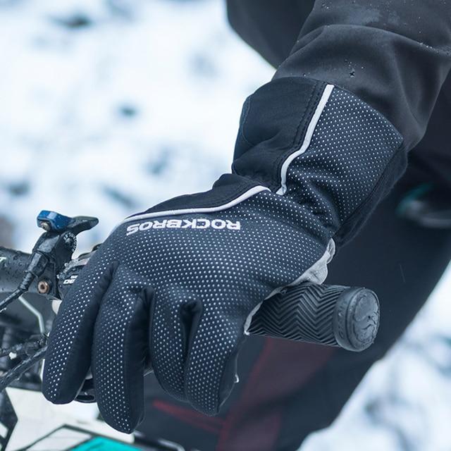 Inverno-40 ROCKBROS Grau Luvas de Ciclismo de Lã Manter Quente Luvas de Tela de Toque À Prova D' Água para Bicicleta Moto Esqui Caminhadas 6