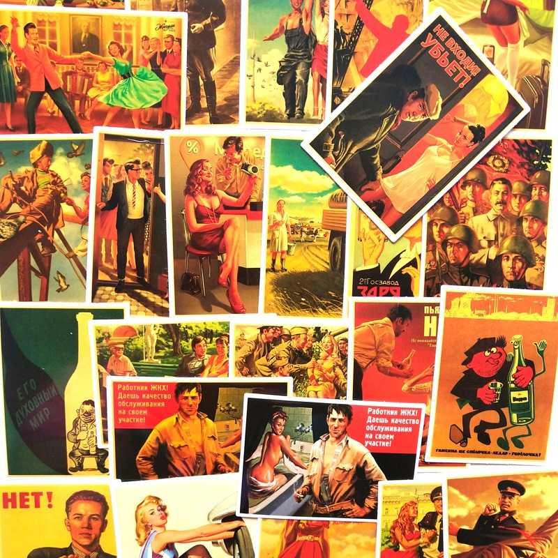 25Pcs Misto Stalin URSS CCCP Poster Adesivi per il FAI DA TE Del Computer Portatile Dei Bagagli Porta Del Frigorifero Decor Impermeabile Giocattolo Per Bambini Sticker