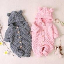 Baby knit Rompers Cartoon Bear ear autumn Newborn baby Boys Girls Hooded Jumpsuits Jackets winter Long Sleeve Toddler Sweater