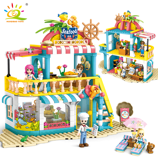 HUIQIBAO 490pcs Friends Heartlake City seafood Restaurant Building Blocks for Girls figures house city Bricks set Children Toys