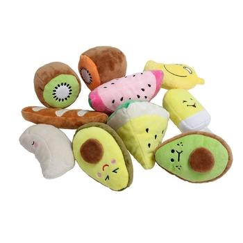 Pluszowe w kształcie owoców skrzypiące gryzak interaktywne zwierzęta molowe zabawki dla psów aby złagodzić stres zwierzęta pluszowe owoce dźwiękowa zabawka tanie i dobre opinie PP Cotton Polyester Chew zabawki