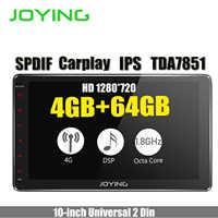 """10.1 """"IPS Android Duplo Din Unidade de Cabeça de 8.1 GB + 64 4 GB 1280*720 HD Carro Universal radio Stereo Navegação GPS Embutido 4G Modem DSP"""