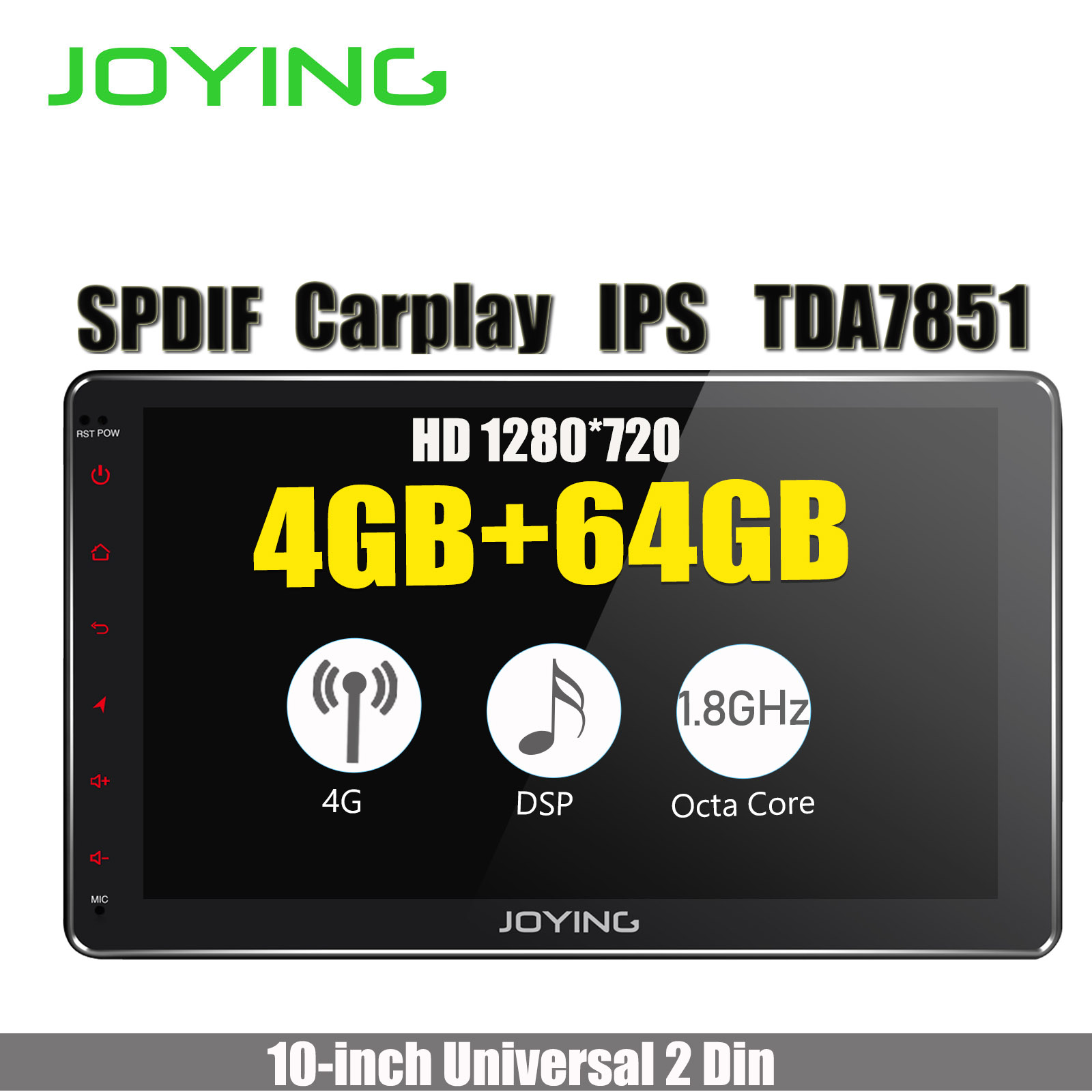 10.1IPS Double Din Android 8.1 Head Unit 4GB +64GB 1280*720 HD Universal Car Radio Stereo GPS Navigation Built-in 4G Modem DSP