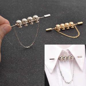 Fashion Bar Cloth Brooch Jewelry Chain Skull Shirt Head Lapel Pin Collar Tie Necktie