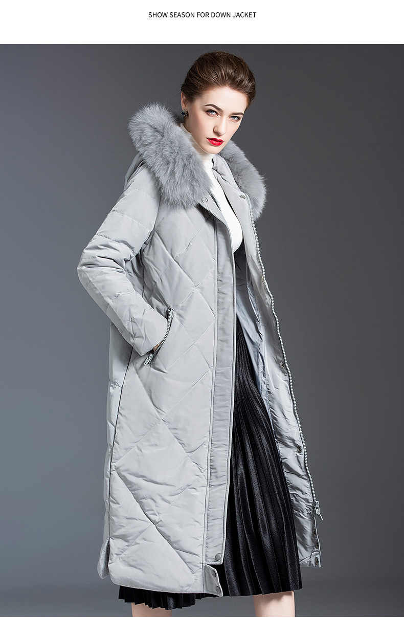 Женская легкая пуховая куртка средней длины с капюшоном и меховым воротником, женская серая куртка, женские толстые теплые свободные серые пальто большого размера