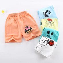 Летние Детские хлопковые шорты для мальчиков и девочек, стильные детские шорты в полоску с животным узором, пляжные шорты для новорожденных