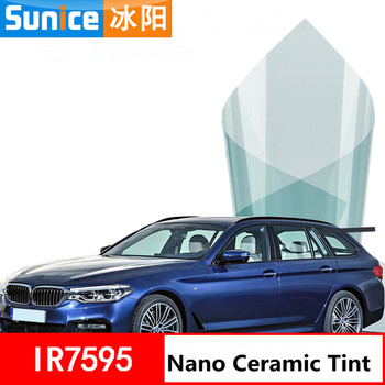 """60""""x100ft Top Front Windshield Foil Solar Protection Light Blue Car Tinting Film Sunshade For Driver Driving 75% VLT"""