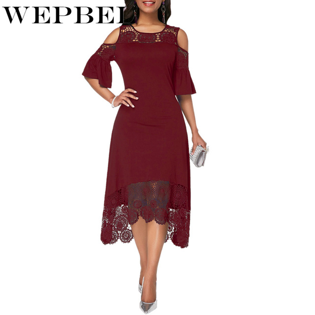 Women Plus Size Summer Lace Floral Dress Ladies Short Ruffles Sleeve Off Cold Shoulder O Neck Party Dress Long Maxi Dress 5XL 6