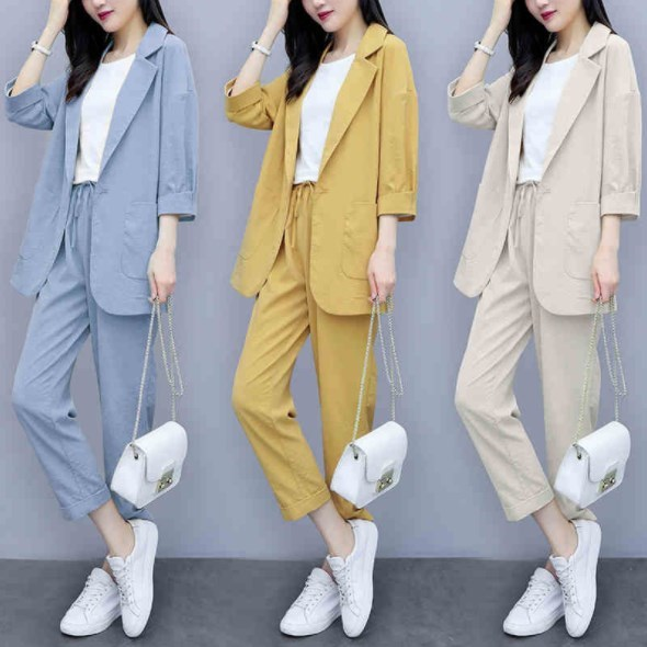 Womens Spring Casual Suits Blue Yellow Beige Linen Pant Suits For Women 2 Two Pieces Blazer And Trouser Sets Summer Sheer Outfit