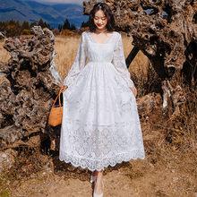 Vestido largo de encaje Blanco con manga acampanada para mujer, Vestido elegante de encaje Blanco