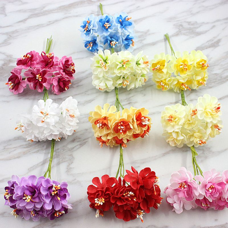 72Pcs/Pack 3.8cm Small Gradient Artificial Carnation Flower For DIY Craft Wreath Wedding Bouquet Scrapbooking Party Home Decor